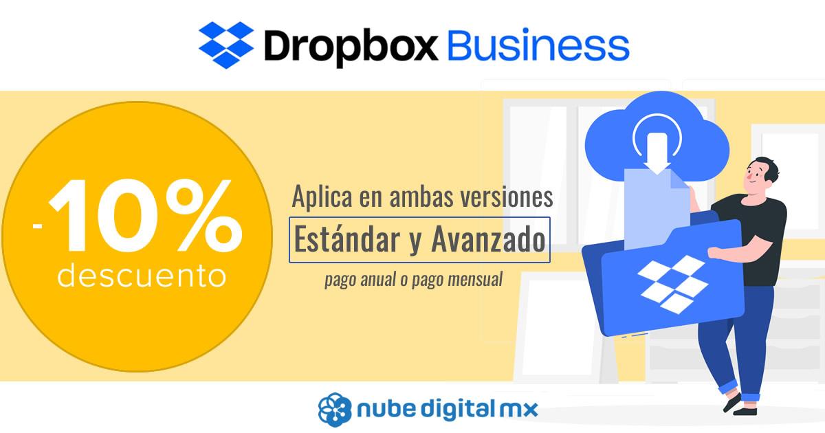 Promoción Dropbox Business plan mensual y anual