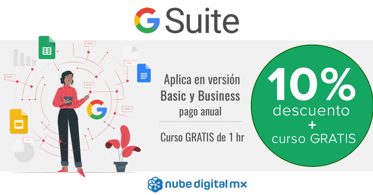 10% de descuento en G Suite + curso gratis en línea