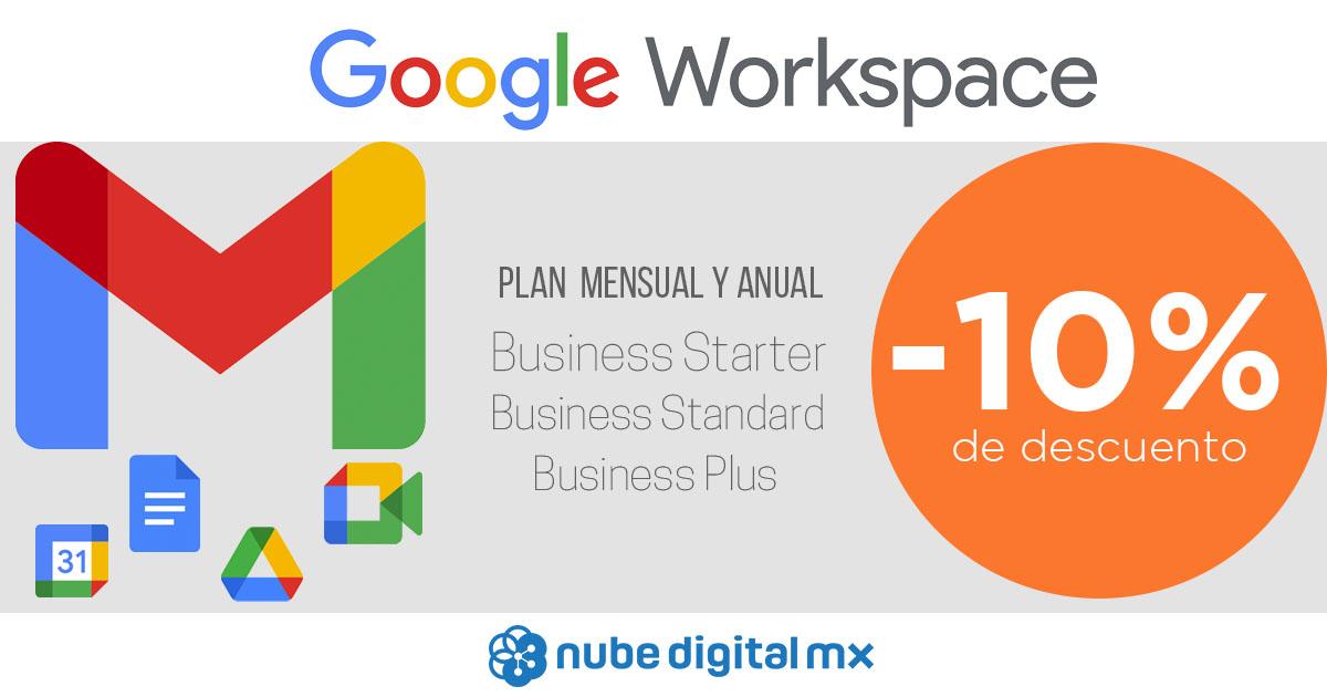 10% de descuento en los planes de Google Workspace
