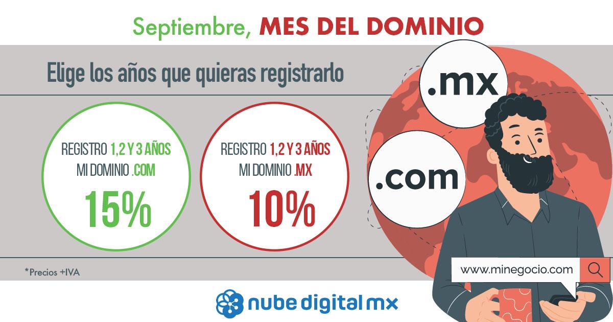 15% de descuento en dominio .com y 10% de descuento en dominio .mx